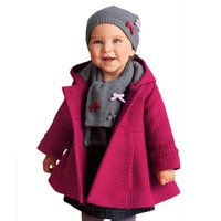 New Winter Lovely Baby Girl Toddler Warm Fleece Pea Coat Snow Jacket Suit Red Pink Clothes