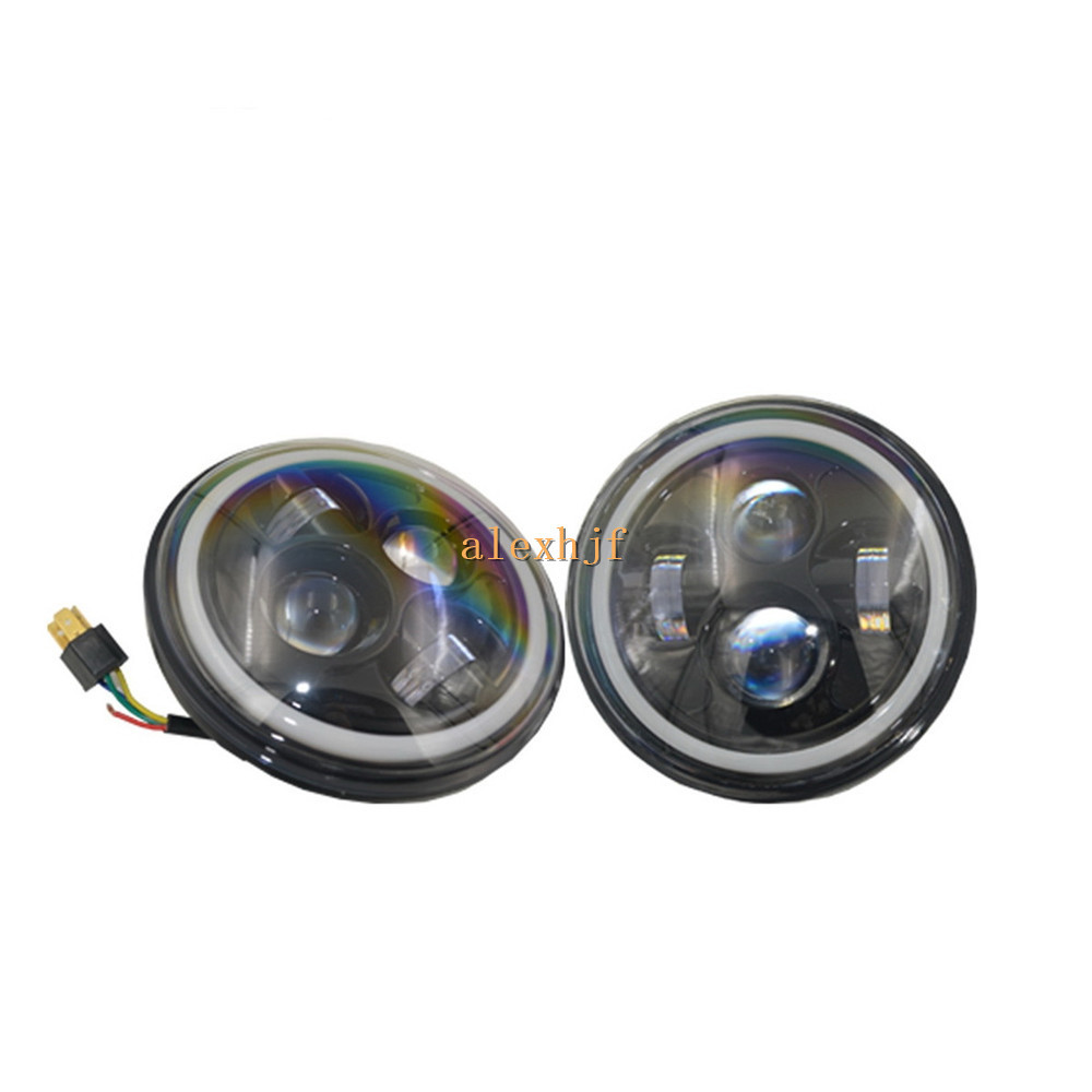 July King 7 Round LED Headlight Assembly With Angel Eye Ring DRL case for Jeep Wrangler TJ/LJ/JK, High Beam 40W Low Beam 20W