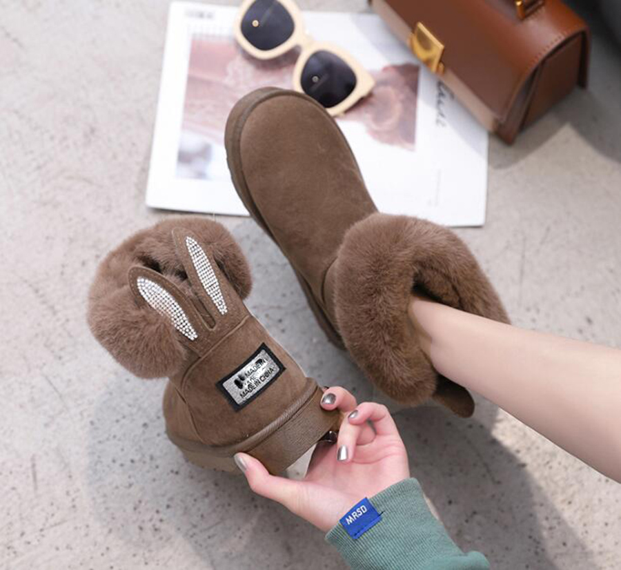 US $16.23 21% OFF AREQW Klassische Frauen Stiefel Kaninchen ohren Pailletten Faux Pelz Komfortable Warme Australien Stiefel Mode Frauen Schnee Stiefel
