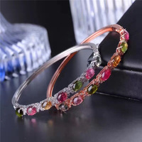 KJJEAXCMY fine jewelry s925 silver natural tourmaline diamond bracelet inlaid with ornaments.