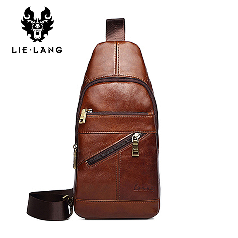 LIELANG Bag Men Travel Chest Pack Small Messenger Bags Genuine Leather Crossbody Bag Vintage Rucksack Chest Bag New Hot augur 2018 men chest bag pack functional canvas messenger bags small chest sling bag for male travel vintage crossbody bag