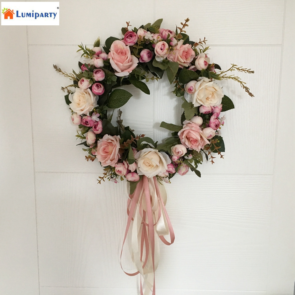Lumiparty floral artificial rose wreath door hanging wall for 3 wreath door decoration