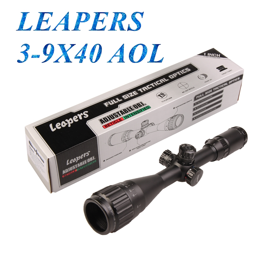 LEAPERS 3-9X40 Hunting Rifle Scopes Sniper Scope Tactical Optics Scopes R/G/B Illuminated For Hunting Rifle Air Guns hunting 3 9x40 optics illuminated tactical rifle scope