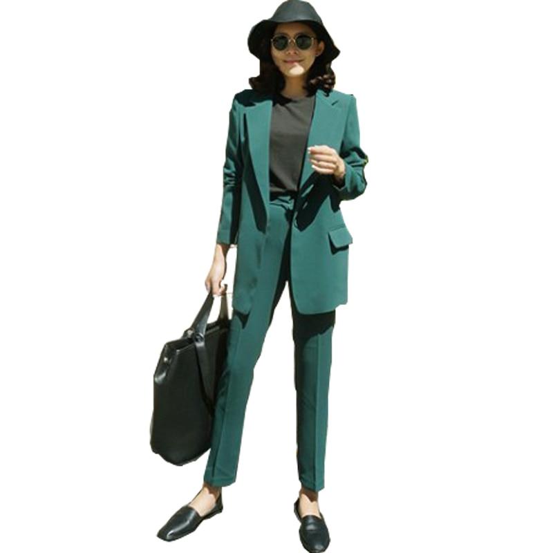 Loisirs bleu vert Pur Neuf Veste Ami Orange Simple Costume Attrayant Pantalon Garçon Vert Laday Bureau Longueur noir Femmes 2018 Femelle Élégant Noir RwdHOqO