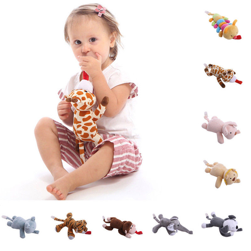 New Stuffed Animals Pacify Toys Baby Girl Boy Dummy Pacifier Chain Clip Animal Plush Nipple Holder Durable Childproof Holder