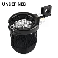 Black Motorbike Accessories Cup Holder Bicycle Handlebar Drink Cup Holder With Nylon Basket For Harley Bobber UNDEFINED