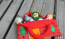 Hot selling 4pcs lot little red riding hood baby story telling finger puppets with bag kids