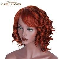 Je de une perruque Blond Rouge Noir Perruques Cheveux Courts pour Blanc Femmes Synthétique Ombre Bouclés Haute Température Fiber De Cheveux