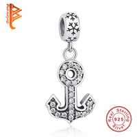 Brand Design New 925 Sterling Silver Anchors Charm Fit Bracelet Necklace CZ Dangle DIY Jewelry