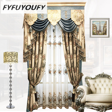 European luxury classic embroidery shade decorative curtains for Living Room Custom-built Bedroom curtains for upscale villas