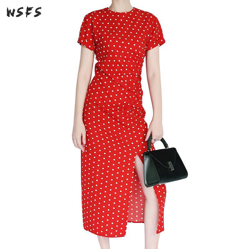 Robe d'été à manches courtes col rond blanc rouge point noir femmes robes élégant Long bureau dames asymétrique Sexy fête robe Midi