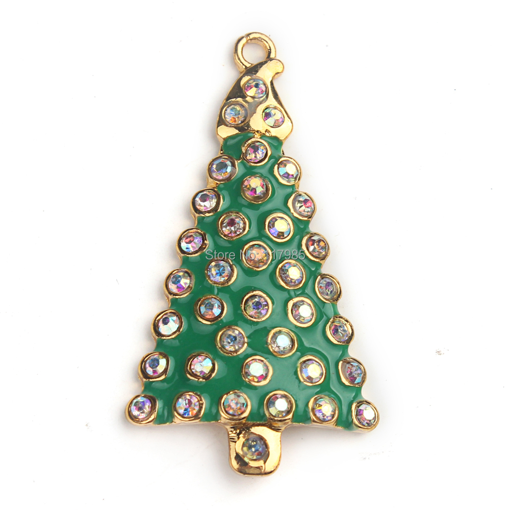christmas gift clearance sale 4524mm ab rhinestone christmas gree red tree pendant diy kids - Christmas Trees Clearance