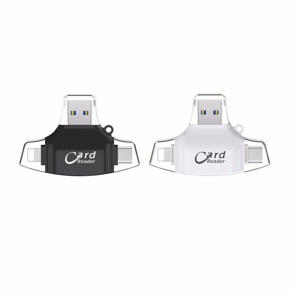 4 in 1 Multifunctional Card Reader Type-C USB Connector OTG HUB Adapter TF Flash Memory Card Reader