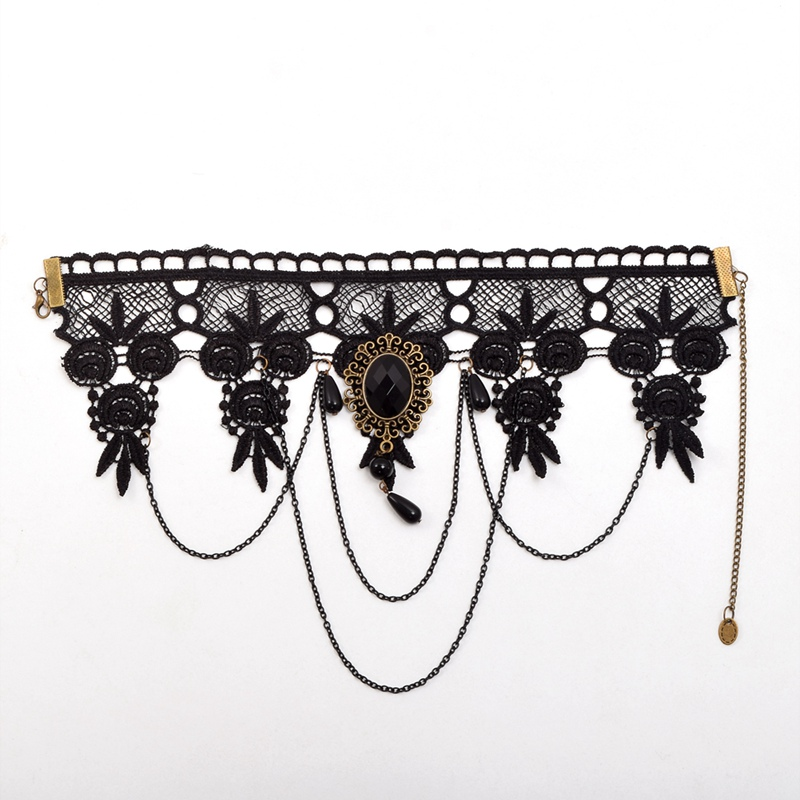 Women Gothic Victorian Steampunk Queen Party Black Lace Collar Choker Necklace