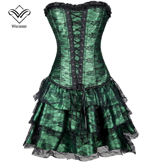 Wechery Steampunk Dress Modeling Corset With Skirt Waist Corset Dress Overbust Shapewear Bustier Gothic Burlesque Corselet