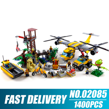 Building blocks 02085 Compatible lepining City 60162 Bricks Jungle Air Drop Helicopter figures Educational toys for children