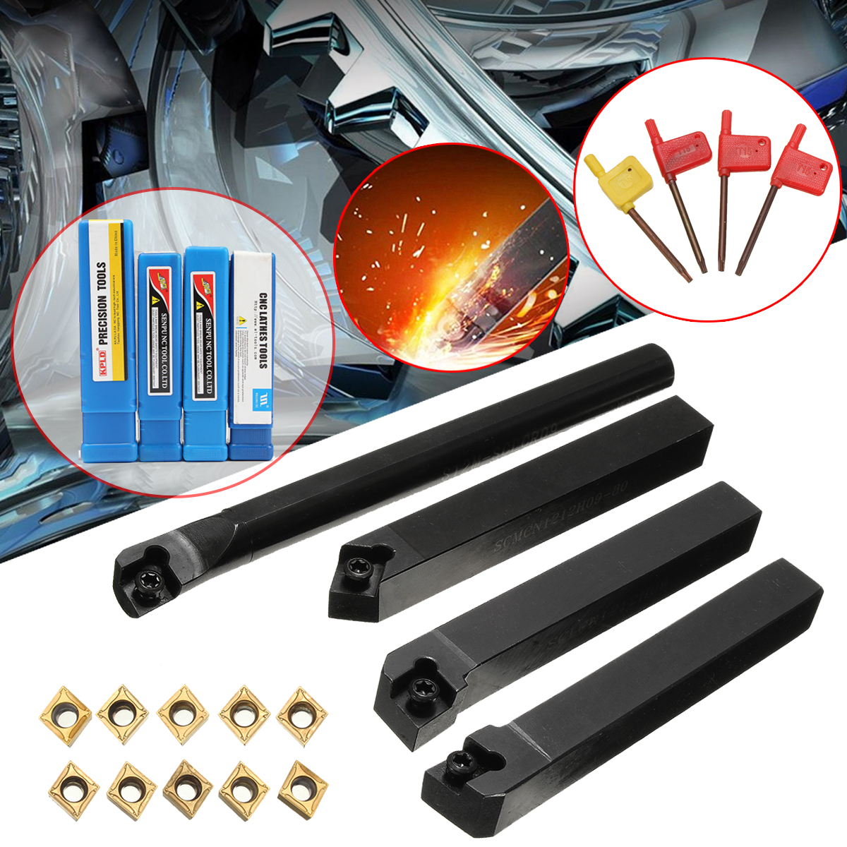 10X CCMT09T304 S12M-SCLCR09+1212H09+SCLCL+SCMCN1212H09 Lathe Turning Tool Holder Set Machine Tools T15 Wrench Carbide Insert Kit