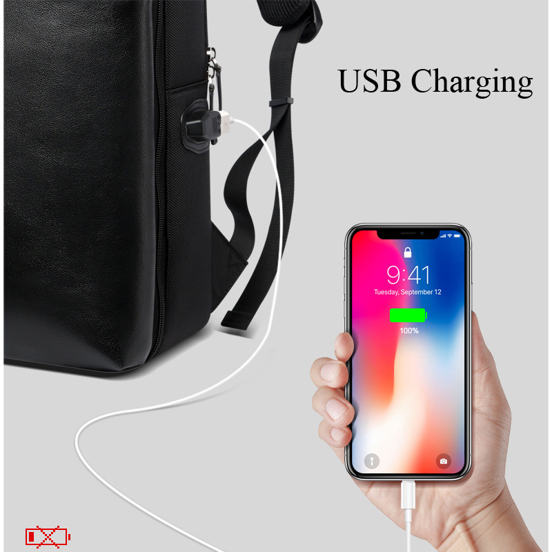 BOPAI Detachable 2 in 1 Laptop Backpack USB External Charge Shoulders Anti theft Backpack Waterproof Backpack Men for 15.6 inch - 3