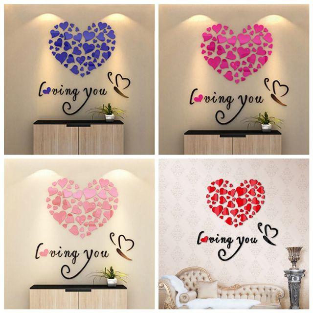 DIY Wall Art Decoratie Muurstickers 3D Romantische Hart Muursticker ...