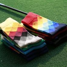 men color harajuku dress business novelty funny skate sock diamond gradient plaid calcetine hombre chaussette homme sox sokken