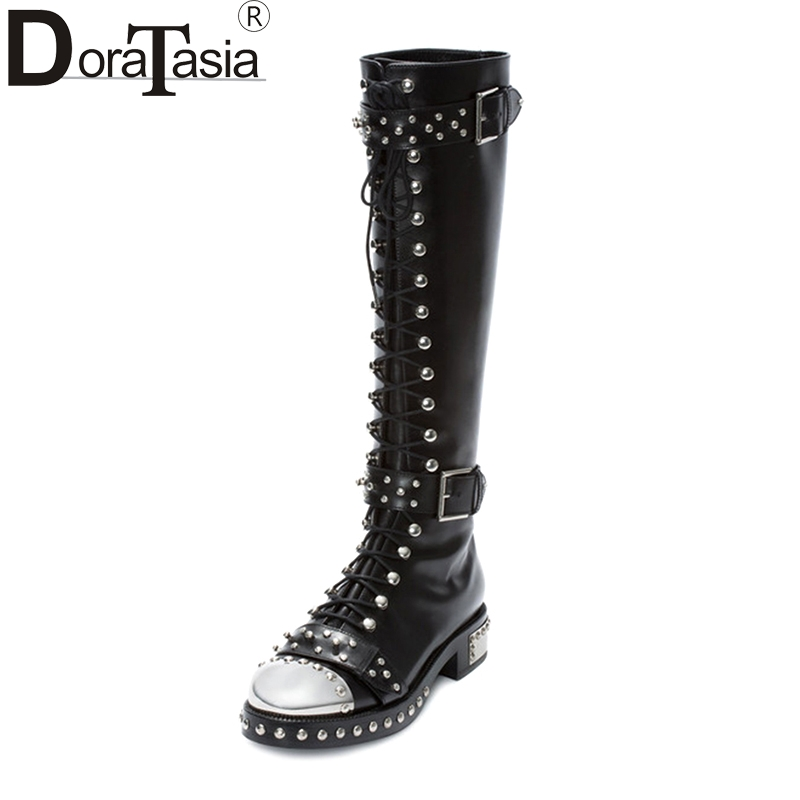 DoraTasia brand design genuine leather large size 34-43 rivets punk martin boots printing buckles women shoes knee high boots чехол для для мобильных телефонов oem 1 sony xperia m c1905 c2005