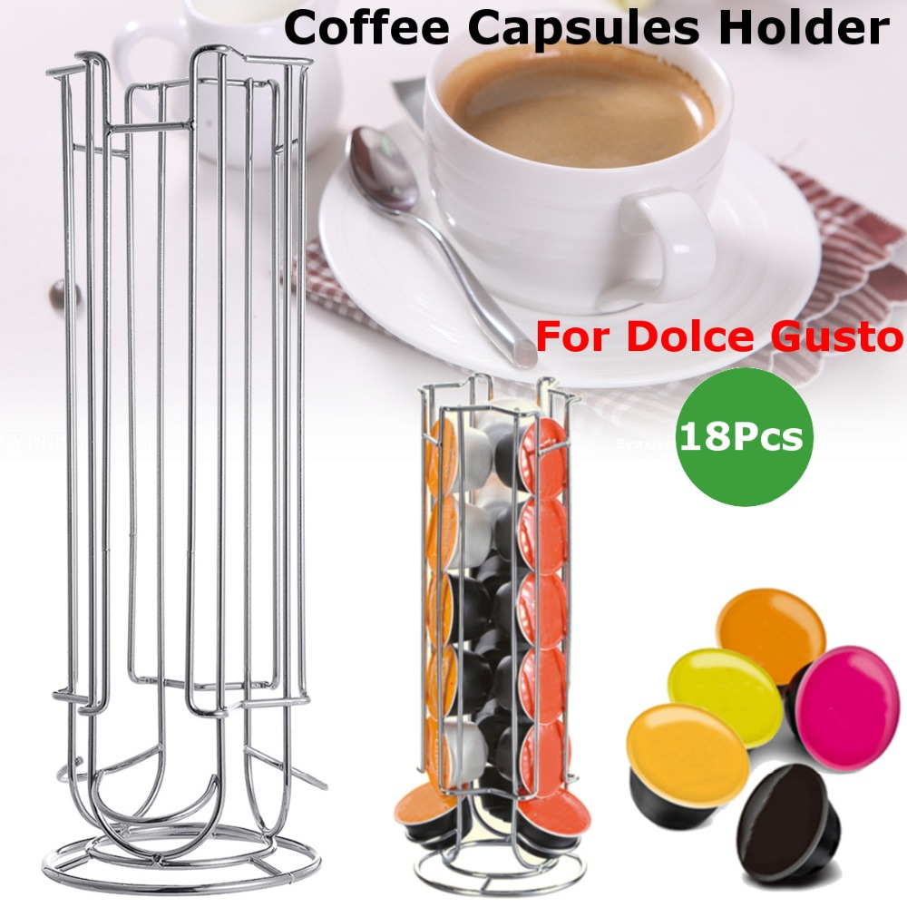 18 24 32Cups Rotatable Coffee Pod Holder Iron Chrome Plating Display Capsule Rack Stand Storage Shelves For Dolce Gusto Capsule in Coffeeware Sets from Home Garden