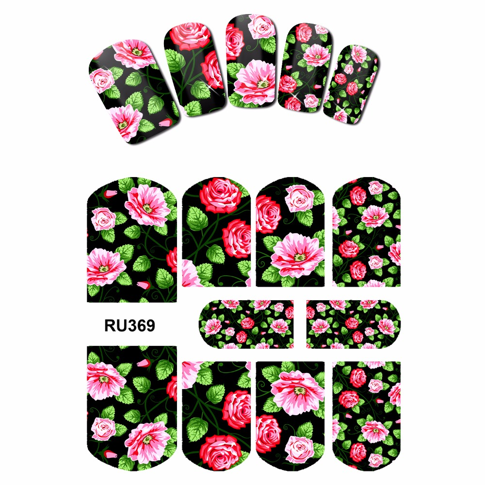 NAIL ART NAIL BEAUTY WATER STICKER DECAL SLIDER FULL COVER  TROPICAL FLOWER VINE CHINA ROSE DAISY PEONY RU367-372 4 packs lot full cover white french smile lace tattoos sticker water decal nail art d363 366w