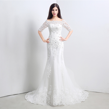 Vintage Mermaid Wedding Dresses Boat Neck Off The Shoulder Illusion Half Sleeves Appliques Diamonds robe de soiree Wedding Gowns фото