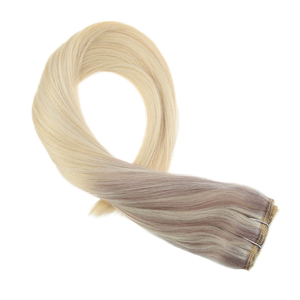 Moresoo Clip In One Piece Remy Hair Extension Colored Ash Blonde #18 With #22 Mix With #60 Double Weft 3/4 Full Head 50-70Gram