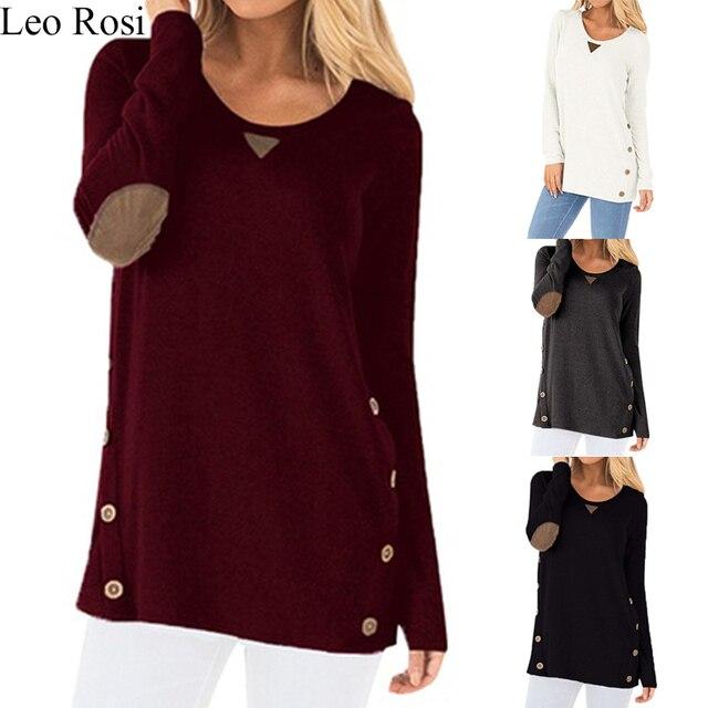 Leo Rosi 2019 t-shirt da forma das mulheres botão de manga comprida t-shirt em torno do pescoço t-Shirt ocasional DT08