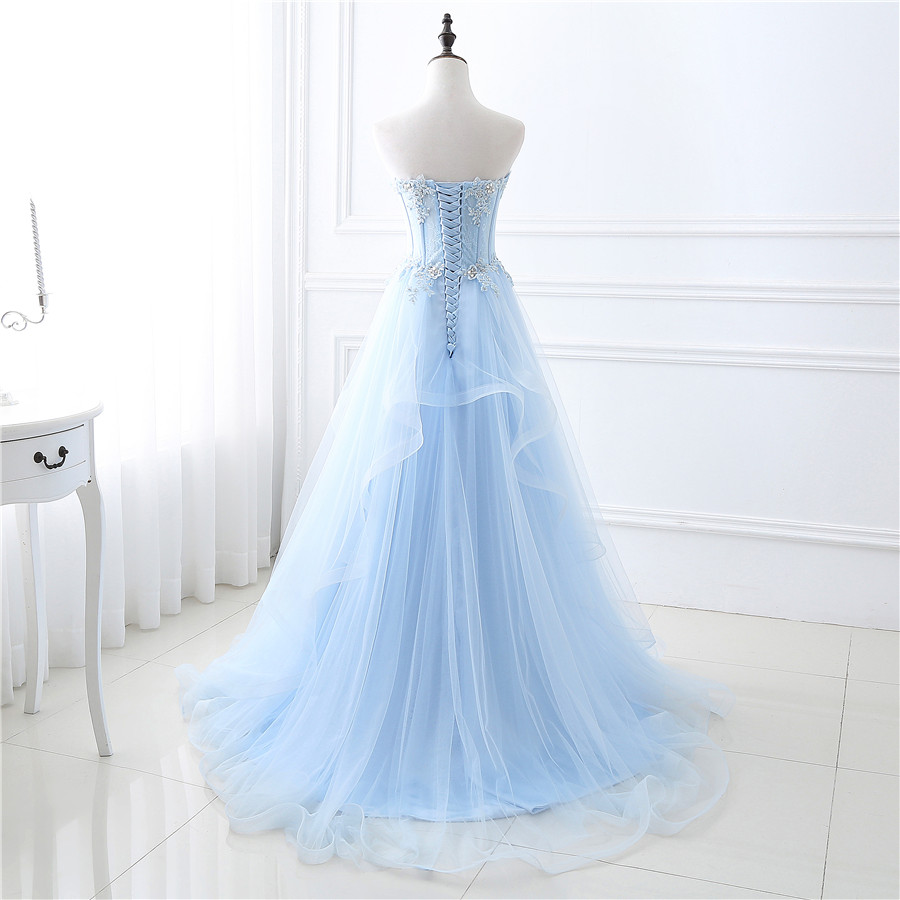 f62d883c7be In Stock Light Blue See Through Tulle Prom Dress A line Crystals Applique  Lace Sexy Evening Dress vestidos de festa-in Prom Dresses from Weddings    Events ...