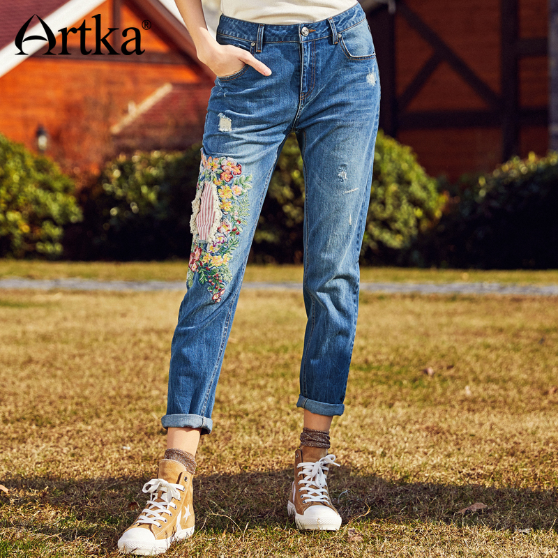 ARTKA Summer 2018 New Fashion Embroidery Stitching Hole Washed Vintage Female Leisure Full Length Jeans KN10184C