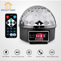 BRIGHTINWD 9 Colors Led Stage Lamp Disco Laser Light 27W Crystal Magic Ball Party Lights Sound
