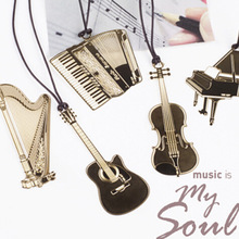 Free shipping Cute Kawaii Golden Metal Bookmarks Creative Piano Guitar Trumpet Book markers Stationery Gift School Supplies 3013