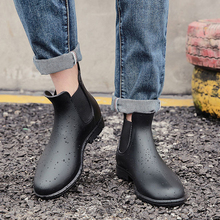 KESMALL Men Martin Rain Boots Black Chelsea Rubber Boots Casual Lovers Botas Slip-On Waterproof Ankle Boots Moccasins Rain Shoes