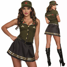 M-XL Hot Sexy Women American Pilot Costumes Army Solider girl performance cosplay Halloween Fantasia Cosplay Fancy Dress