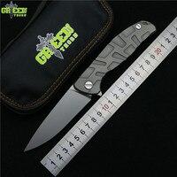 Зеленый шип Флиппер 95 D2 стальное лезвие T режим Титан Ручка Открытый Отдых охотничий карман Кухня Фрукты складной нож EDC инструмент