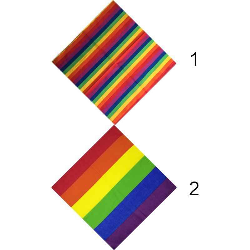 Festivali gökkuşağı renkli yedi çizgili 55x55CM Unisex pamuk cep kare eşarp kafa Bandana eşcinsel Parade bileklik boyun kravat