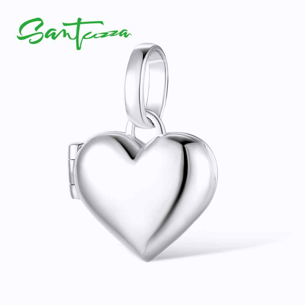 SANTUZZA Silver Heart Pendant Fit for Necklace Bracelet Photo locket Pure 925 Sterling Silver Ladies Party Fashion Jewelry