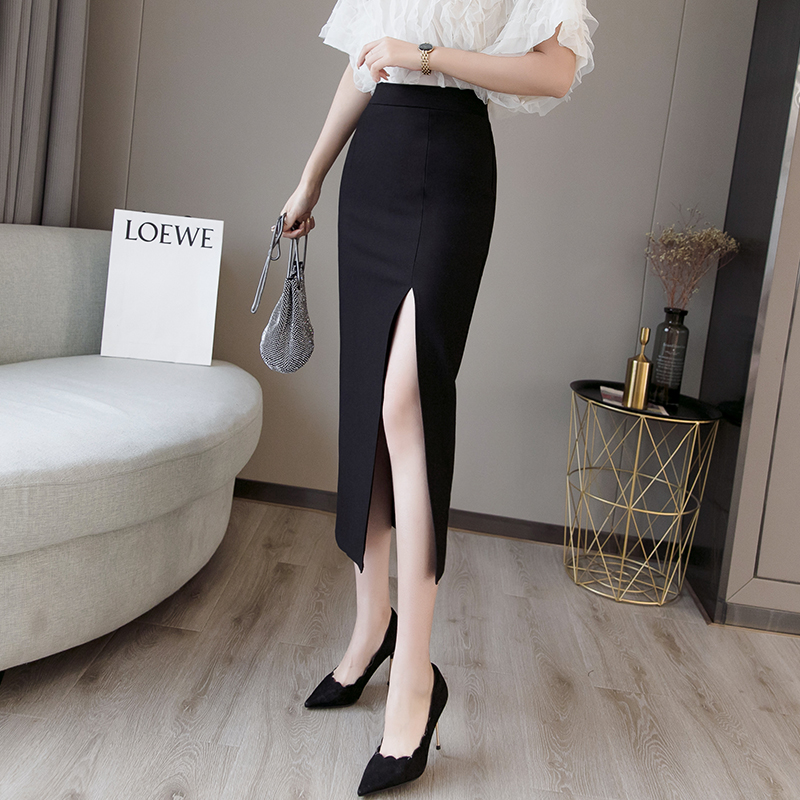 Plus Size Sexy Bodycon Black Pencil Slit Long Skirts  Womens High Waisted Elastic Red Bag Hip Skirt Step Skirt Clothes 2019