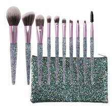 10pcs/set Glitter Makeup Brush Set Foundation Blending Power Eyeshadow Concealer Blush Cosmetic Quicksand Beauty Make Up Brushes
