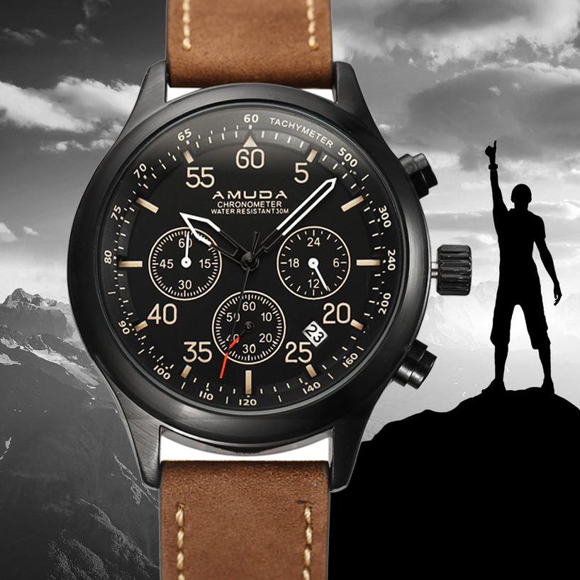 Prix pour De luxe Hommes Sport Quartz Montre Homme Analogique Date Chronographe Étanche Montre-Bracelet