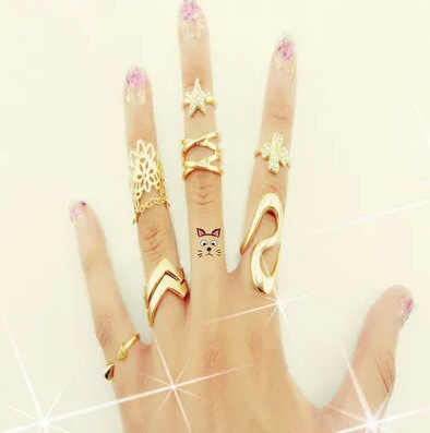 New Cute Sweet Style Crystal Rhinestone 7pcs\set Leaf Crown Cross Midi Knuckle Finger Joint Rings women