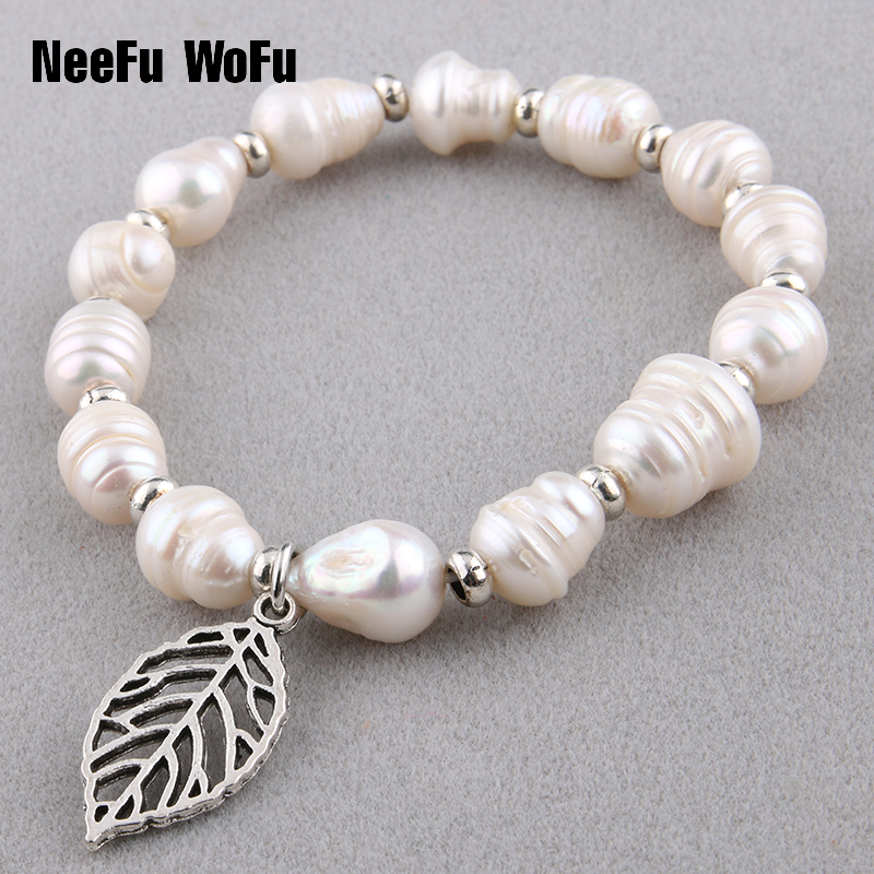 Bracelets 10mm Natural Pearl Charm Woman Beaded Bracelet Leaves Pendant Top quality fashion jewelry wholesa pearl beaded shoulder top