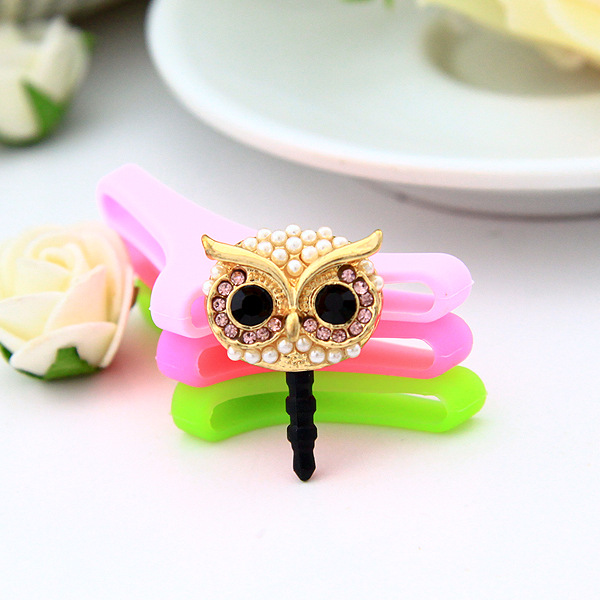 Confident Owl Design Studded With Pearls Mobile Phone Ear Cap Dust Plug For Iphone For Samsung 3.5mm Earphone Dust Plug Mobile Phone Accessories Cellphones & Telecommunications