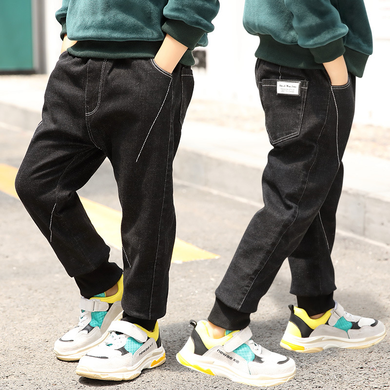 Boy Jeans Winter Warm Toddler Jeans 2018 New Fashion Denim Pant Korean Style Big Boy Long Trousers With Velvet Teenager 5-13y стоимость
