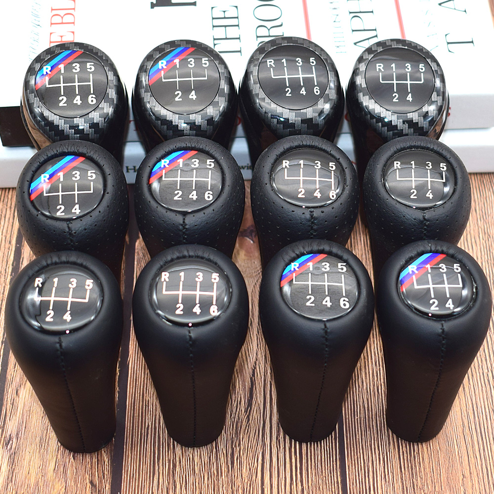 5 6 Speed Real Leather Gear Shift Knob For BMW 1 3 5 6 Series E30 E32 E34 E36 E38 E39 E46 E53 E60 E63 E83 E84 E87 E90 E91 E92