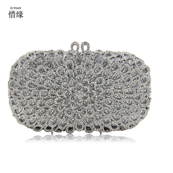 XIYUAN BRAND SILVER Crystal Women Evening Bags Wedding Party Cocktail Handbags And Purses Bridal Rhinestone Small Day Clutches 2017 women floral print rhinestone evening clutch bags ladies day clutches purses chain handbags bridal wedding party bolsas red