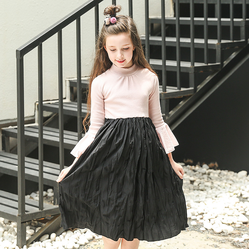 baby teenager girls knee length flare long sleeve fall autumn princess cotton dress spring patchwork children dresses 2018 new 2015 new spring autumn korea style girls cute leather lace patchwork princess long sleeve dresses baby boutique dress