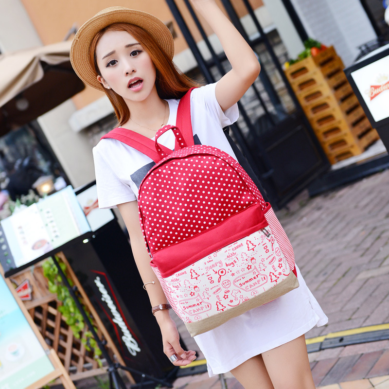 Women Backpack Female Canvas Printing Polka Dot Women Shoulder Bags Women Travel Bag Mochila Vintage Backpack Q0